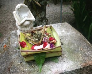Statue with offerings